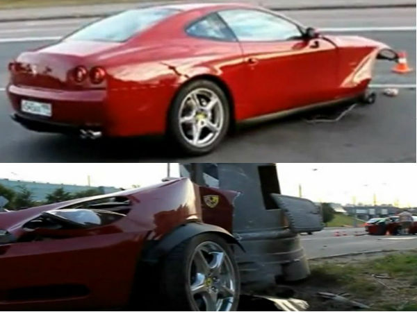 Ferrari 612 Scaglietti sports car accident in Russia